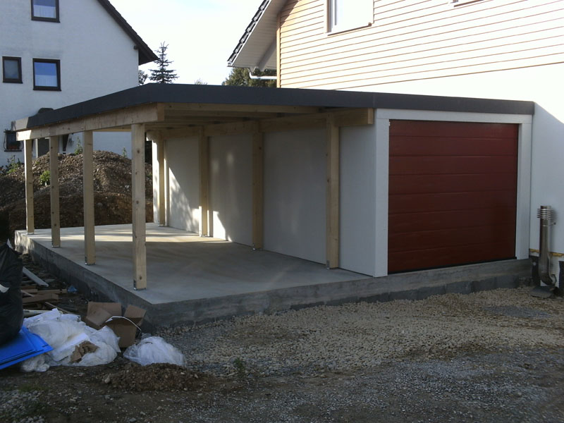Fertiggarage mit carport  Flachwandgarage als Fertiggarage im Massiv-Look