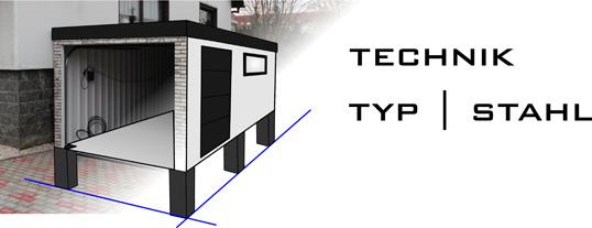 Technische Informationen zur Fertiggarage Typ Stahl