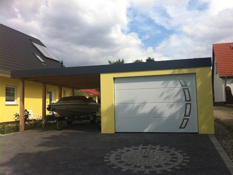 Garagen-Carport-Kombination als Fertiggarage